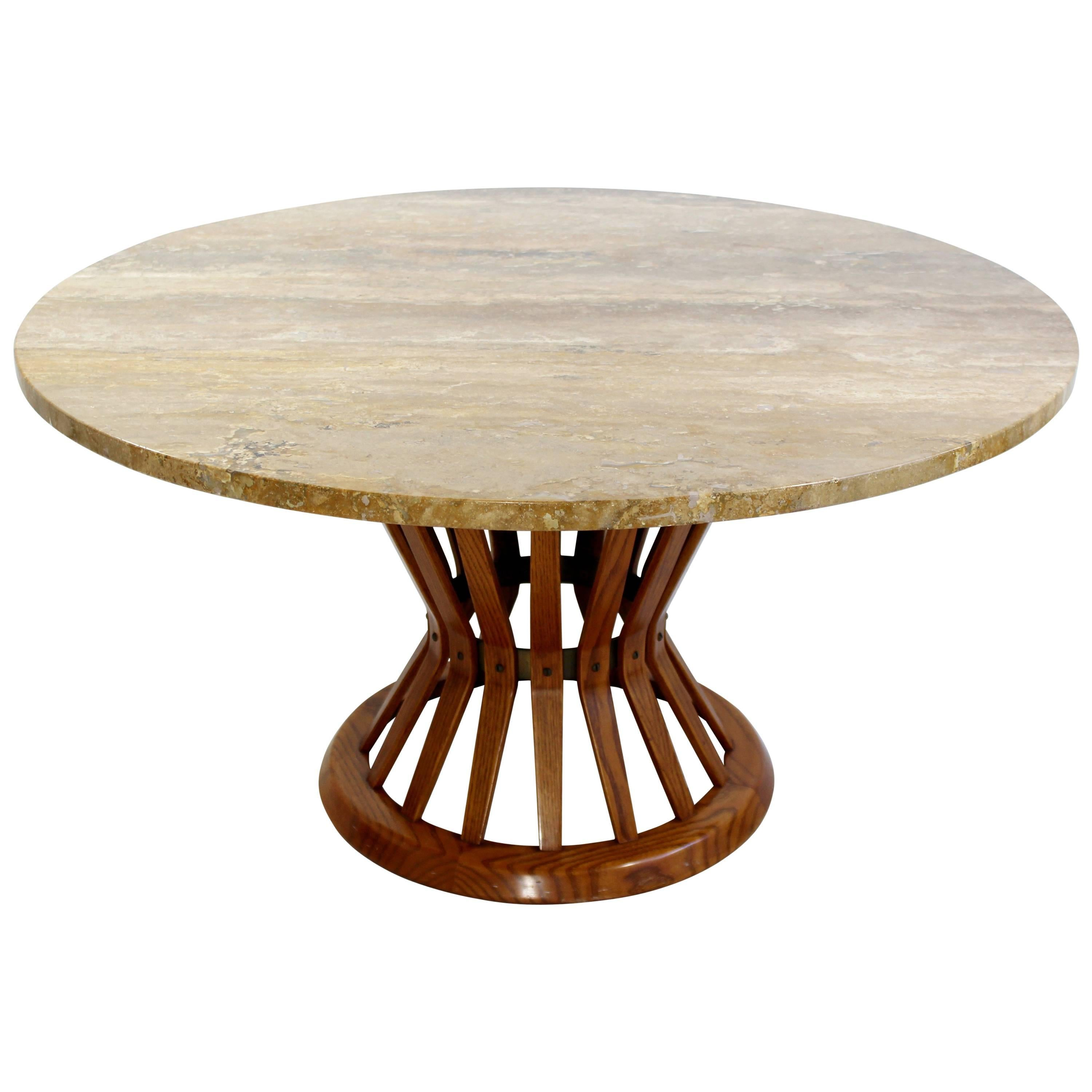 Ordinaire Mid Century Modern Dunbar Wheat Sheaf Marble And Wood Round Coffee Table  For Sale