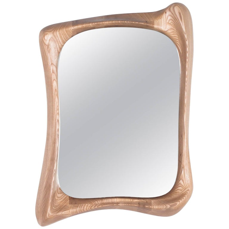 Modern Mirror Frame Solid Wood Organic Shape Natural Stain