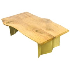 Natural Live Edge Oak Coffee Table on Brass Wave Legs