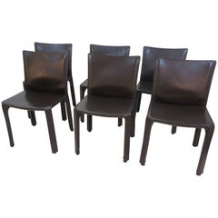 Mario Bellini Cab Chairs No.412 by Cassina in Dark Chocolate Leather