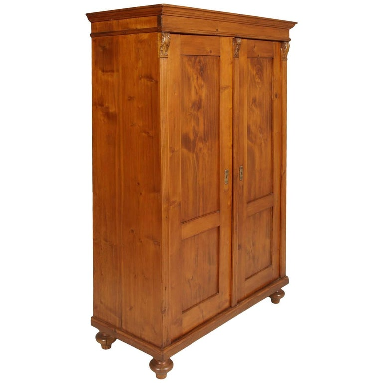 19th Century Tyrolean Armoire Cupboard in Solid Wood Restored and Wax Polished
