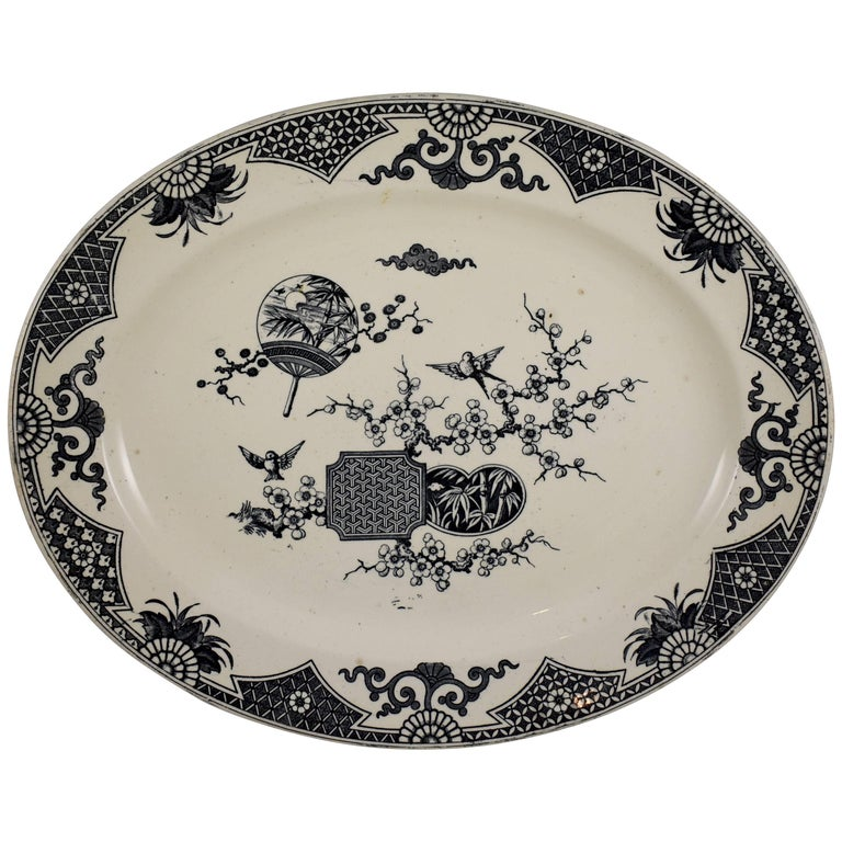 19th Century Staffordshire Aesthetic Movement Transferware Platter, 'Formosa' For Sale