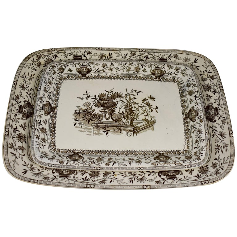 19th Century Staffordshire Aesthetic Transferware Platters 'Honfleur' Set of Two For Sale