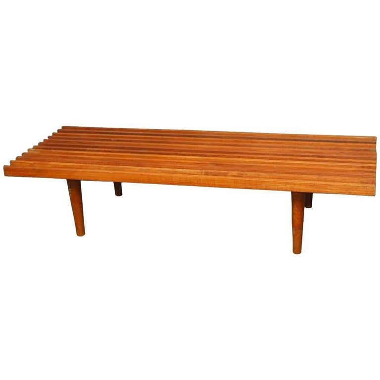 Mid-Century Modern Low Slat Wood Bench Coffee Table For