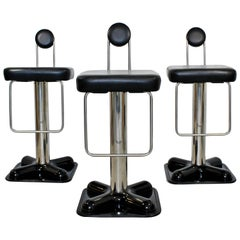 Mid-Century Modern Pair of Bar Stools by Joe Colombo Birillo Chrome, 1970s