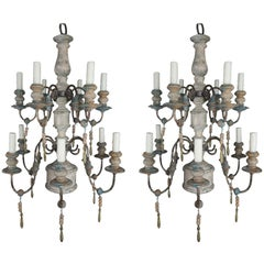 Pair of Twelve-Light Wood and Iron Painted Chandeliers