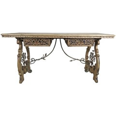 19th Century Natural Walnut and Wrought Iron Desk