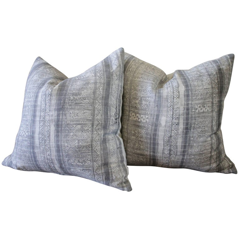 Pair of Vintage Grey Batik Pillows
