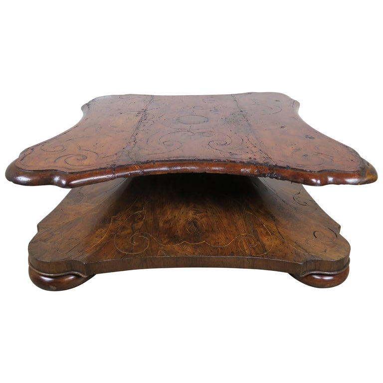 18th Century Italian Inlaid Walnut Coffee Table
