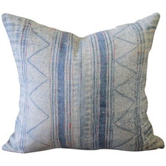 Vintage Blue Batik Accent Pillow with Pink Threads