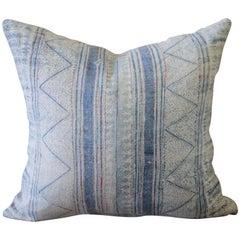 Vintage Blue Batik Accent Pillow with Pink Threads