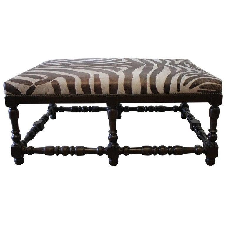 Custom Zebra Print Upholstered Hide Cocktail Ottoman At