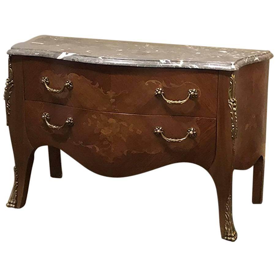 19th Century French Marquetry Marble-Top Bombe Commode