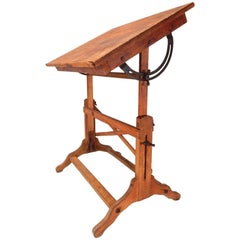 1930s Post Industrial Wood and Iron Drafting Table