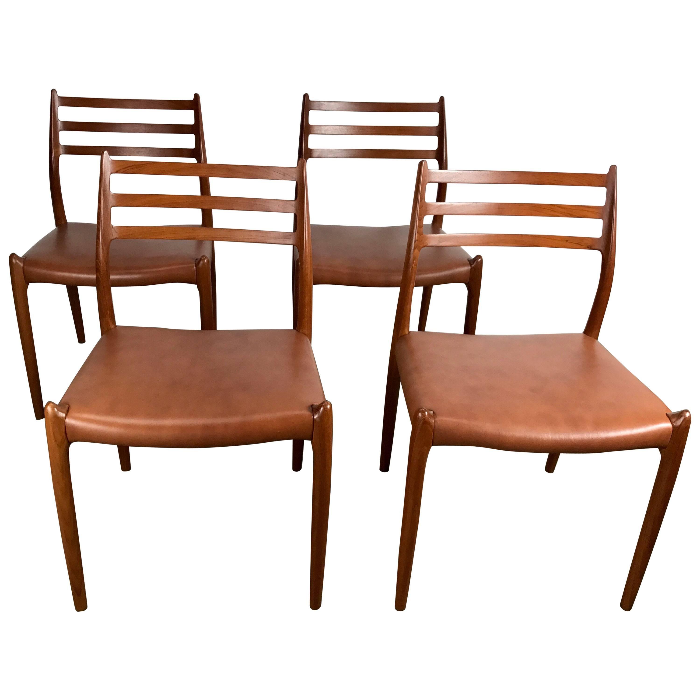 Niels O. Møller Model 62/78 Dining Chairs By J.L Møller, Denmark,