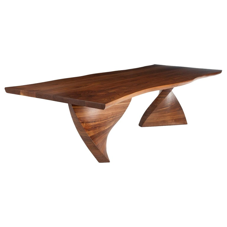Helical Dining Table in Walnut For Sale