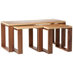 Modern Nest of Three Tables in Walnut and Highly Figured Burr Olive Ash