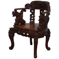 Chinese Quin Dynasty Carved Rosewood Dragon & Lion Foo Dog Armchair, circa 1870