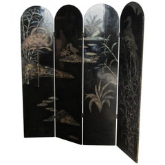 19th Century Black Lacquer Chinoiserie Four Fold Japanese Screen