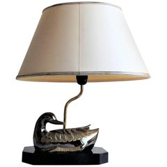 Brass Duck Table Lamp Attributed to Maison Charles, 1970s, France