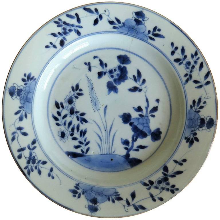 18th Century Chinese Export Porcelain Plate Blue and White, Qing Circa 1735 For Sale