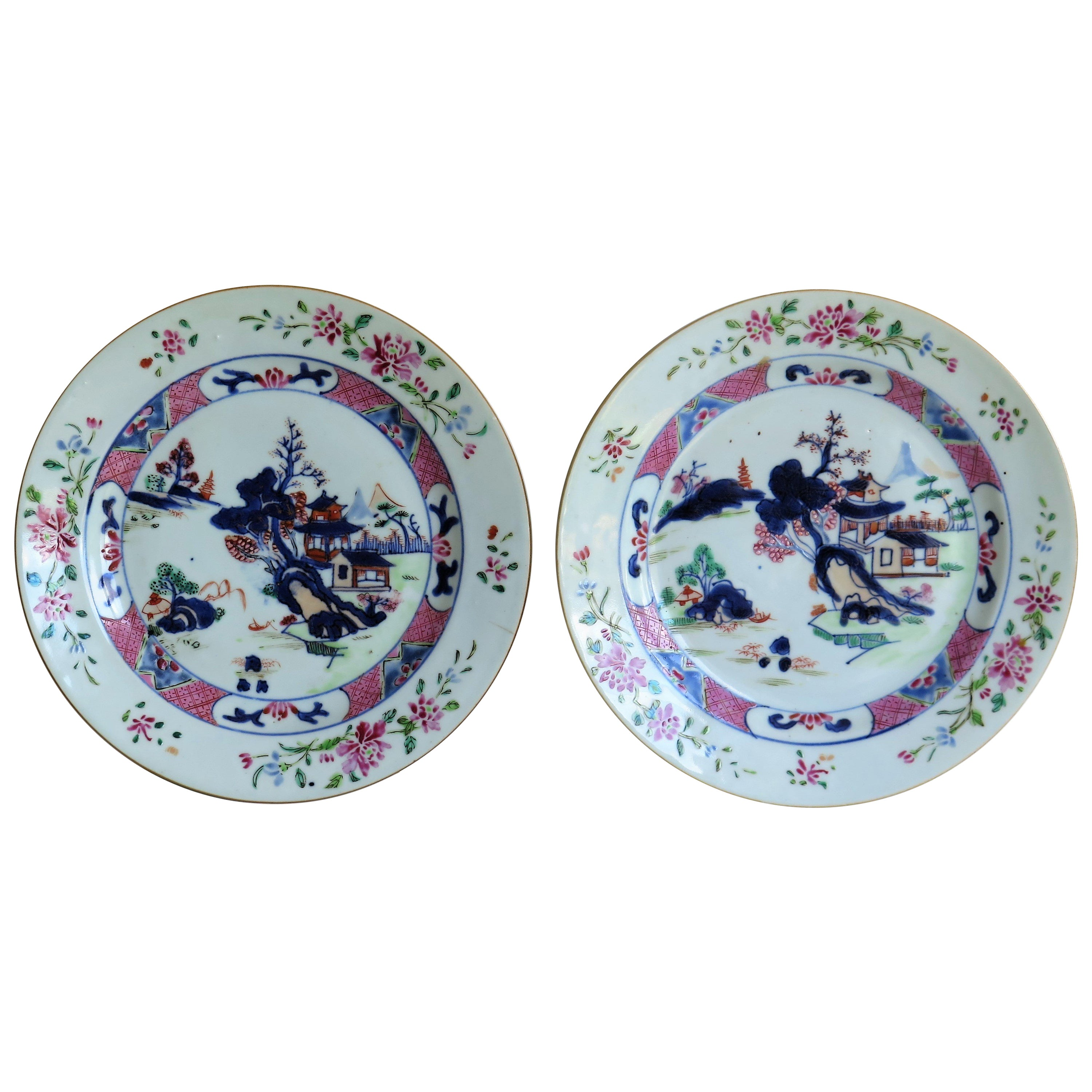 Mid 18th Century PAIR of Chinese Porcelain Plates Famille Rose, Qing Qianlong