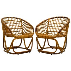 Pair of Vintage Mid-Century Rattan Bamboo Lounge Chairs Manner of Tito Agnoli