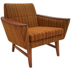 Norwegian Yellow Striped Wool and Teak Armchair Mid-Century Chair, 1960s