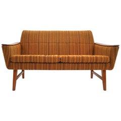 Norwegian Yellow Striped Wool and Teak Two-Seat Sofa, Midcentury, 1960s