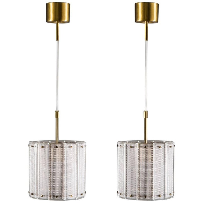 Pair of Swedish Mid-Century Modern Pendants in Glass and Brass