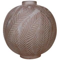 Press Blown Glass Art Deco 'Palmes' Cabinet Vase by Rene Lalique