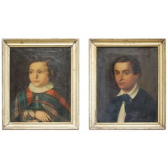 Pair of 19th Century English Naive Oil Portraits