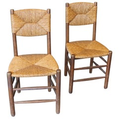 Charlotte Perriand Beautiful Pair of Woven Straw Chairs, circa 1950