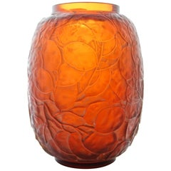 Pressed Blown Amberred Glass Vase Designed by René Lalique