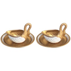 Pair of Sevres Style Swan Cream Cups