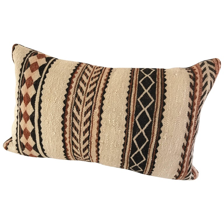 Custom Pillow Cut From A Vintage Hand Loomed Wool Moroccan