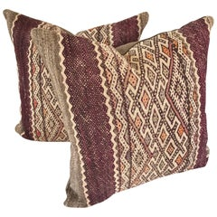 Custom Pair of Pillows Cut from a Vintage Hand-Loomed Wool Moroccan Berber Rug