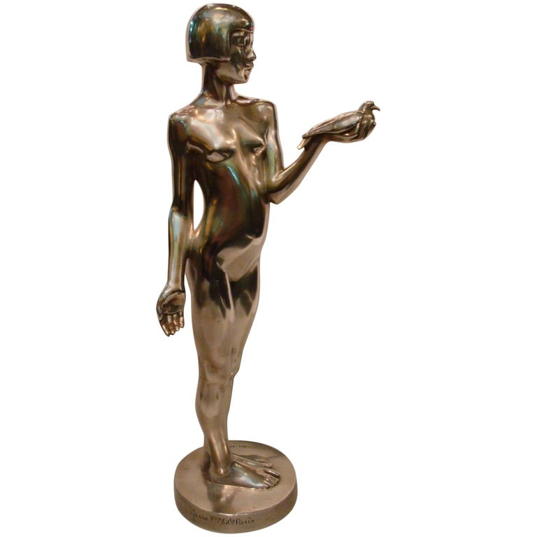 Art Deco Bronze Sculpture of Nude Girl with Dove by Henry Arnold, France, 1928