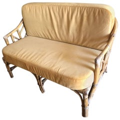 French Audoux Minet Wicker Sofa, circa 1960