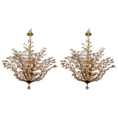 Mid-Century Italian Pair of Gold-Plated Brass Chandeliers with Crystal Prisms