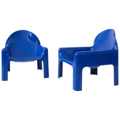 Rare Pair of Italian Lounge Chairs 4794 by Gae Aulenti for Kartell, 1974