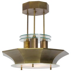 Rare Brass and Etched Glass Art Deco Haagse School Chandelier, 1930s