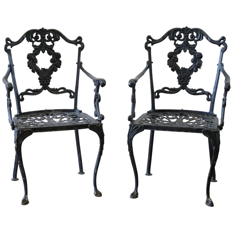 Pair Of Antique Cast Iron Garden Chairs For Sale At 1stdibs