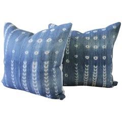 Pair of Vintage Blue Shibori Style African Mudcloth Pillows