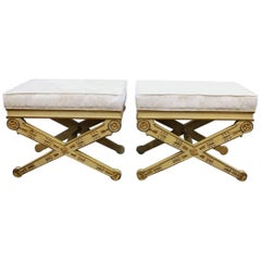 Hollywood Regency Style X-Base Benches in Cream