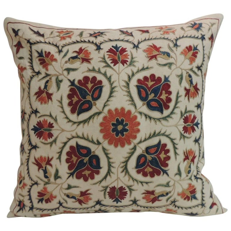 Vintage Floral Motif Suzani Silk on Silk Embroidered Decorative Square Pillow For Sale at 1stdibs