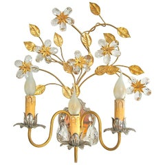 Gold and Silver Colored Candle Wall Light Decorated Crystal Flowers, Italy 1970s