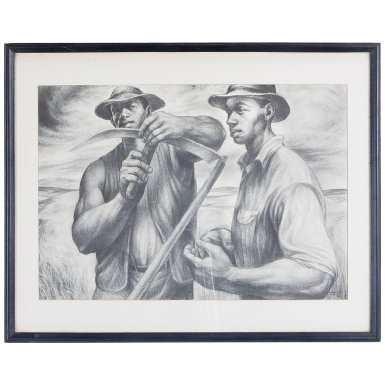 Charles White Lithograph 'Harvest Talk'