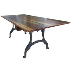 Industrial Cast Iron Base Table Work Dining