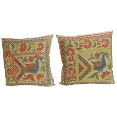 Pair of 19th Century Indian Hand Embroidery Vintage Decorative Pillows